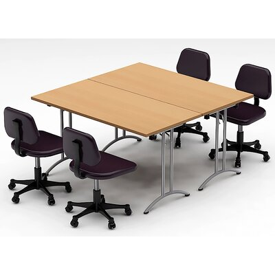 Meeting Seminar 2 Piece Combo 5 Square Conference Table Top Finish: Natural Beech