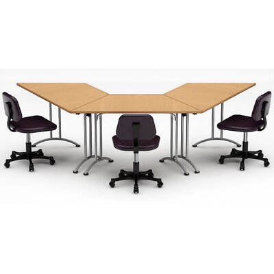 Meeting Seminar 3 Piece Angled 30H x 30W x 120L Conference Table Set Top Finish: Natural Beech