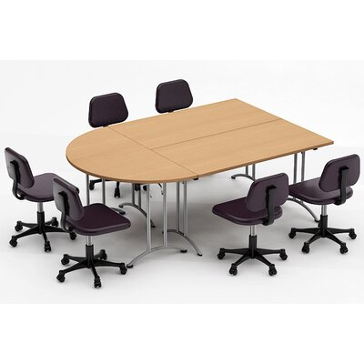Meeting Seminar 3 Piece Half-Round 30H x 60W x 90L Conference Table Set Top Finish: Natural Beech
