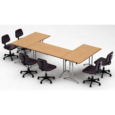 Meeting Seminar 3 Piece Rectangular 30H x 60W x 120L Conference Table Set Top Finish: Natural Beech