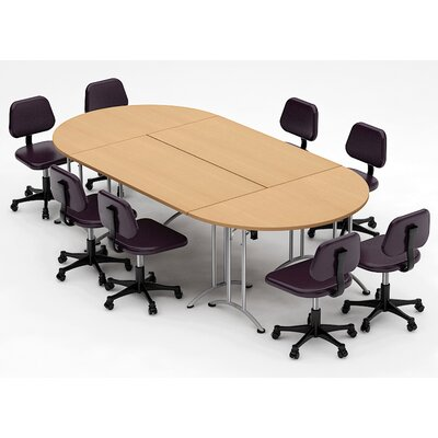 Meeting Seminar 4 Piece Racetrack/Oval 30H x 60W x 120L Conference Table Set Top Finish: Natural Beech