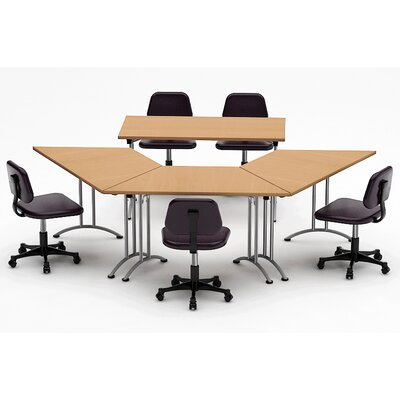 Meeting Seminar 4 Piece Angled 30H x 90W x 120L Conference Table Set Top Finish: Natural Beech