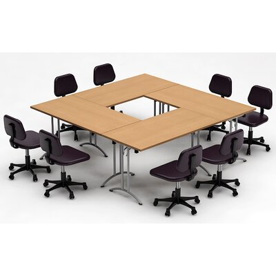 Meeting Seminar 4 Piece Combo 7.5 Square Conference Table Top Finish: Natural Beech