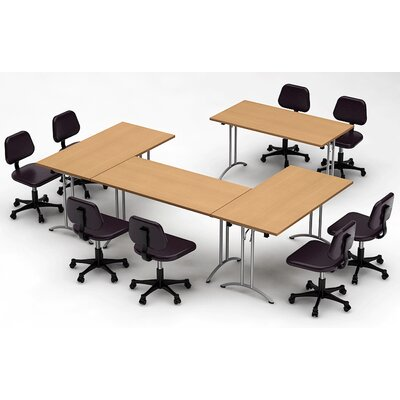 Meeting Seminar 4 Piece Rectangular 30H x 120W x 120L Conference Table Set Top Finish: Natural Beech