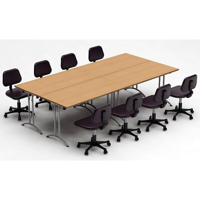 Meeting Seminar 4 Piece Rectangular 30H x 60W x 120L Conference Table Set Top Finish: Natural Beech