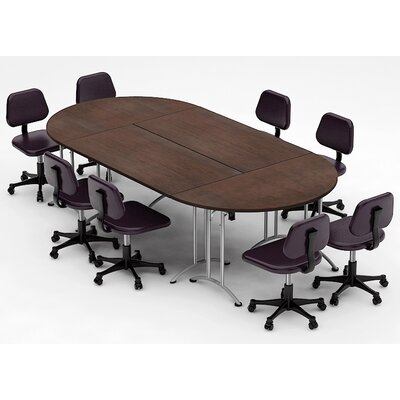 Meeting Seminar 4 Piece Racetrack/Oval 30H x 60W x 120L Conference Table Set Top Finish: Java