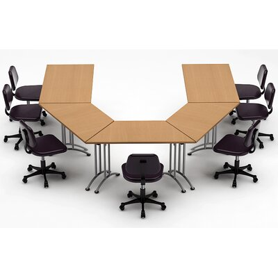 Meeting Seminar 5 Piece Combo 10 U-Shape Conference Table Top Finish: Natural Beech