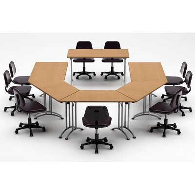 Meeting Seminar 6 Piece Half-Round 30H x 120W x 180L Conference Table Set Top Finish: Natural Beech