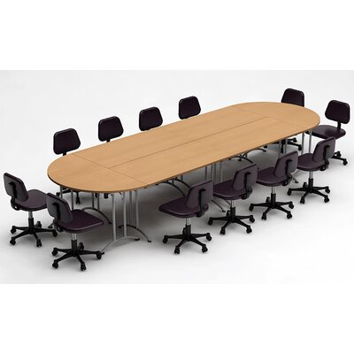 Meeting Seminar 6 Piece Racetrack/Oval 30H x 60W x 180L Conference Table Set Top Finish: Natural Beech
