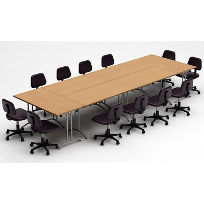 Meeting Seminar 6 Piece Rectangular 30H x 60W x 180L Conference Table Set Top Finish: Natural Beech