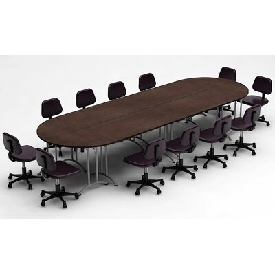 Meeting Seminar 6 Piece Racetrack/Oval 30H x 60W x 180L Conference Table Set Top Finish: Java