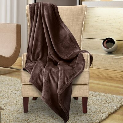 Karnak Ultra Lux Solid Throw Color: Chocolate