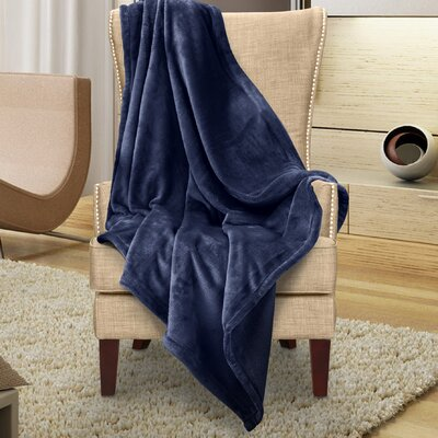 Karnak Ultra Lux Solid Throw Color: Navy