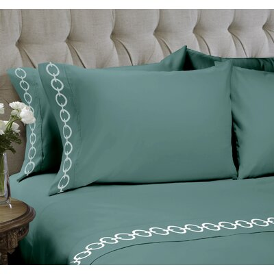 Chain Embroidered 4 Piece Sheet Set Color: Mineral Blue, Size: King