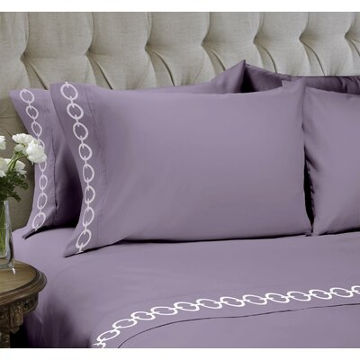 Chain Embroidered 4 Piece Sheet Set Color: Purple Ash, Size: King