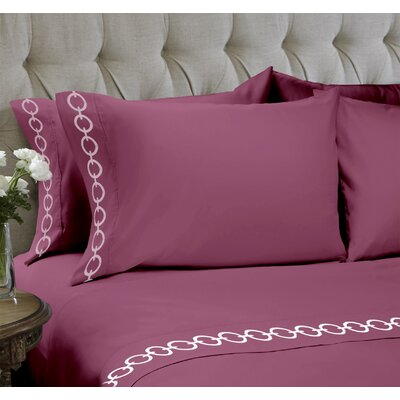 Chain Embroidered 4 Piece Sheet Set Color: Mauve, Size: Queen