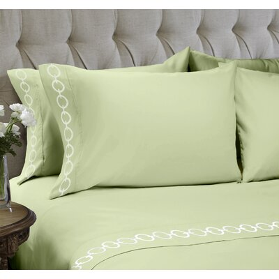 Chain Embroidered 4 Piece Sheet Set Color: Moss Green, Size: Queen