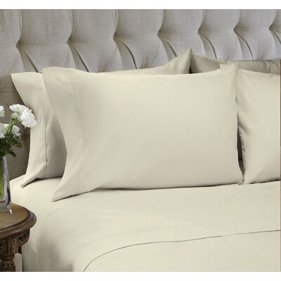 Chevron Embossed�4 Piece Sheet Set Color: Whisper, Size: Queen