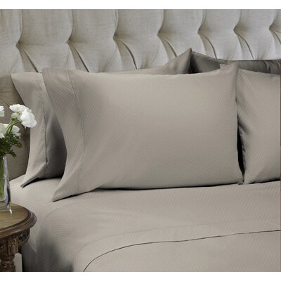 Chevron Embossed�4 Piece Sheet Set Color: Sand, Size: King