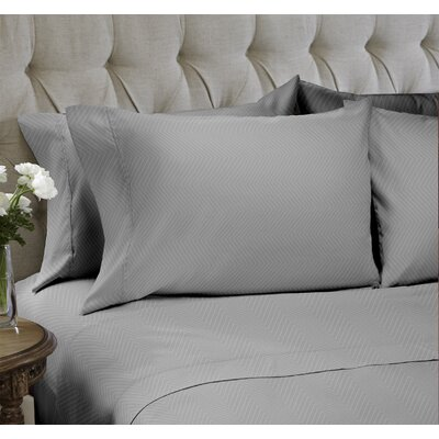 Chevron Embossed�4 Piece Sheet Set Color: Gray, Size: King