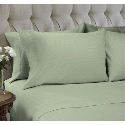 Chevron Embossed�4 Piece Sheet Set Color: Moss Green, Size: Queen