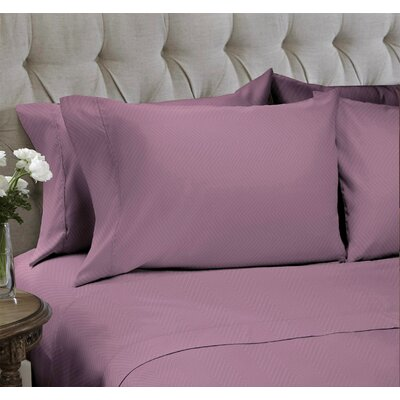 Chevron Embossed�4 Piece Sheet Set Color: Mauve, Size: Full