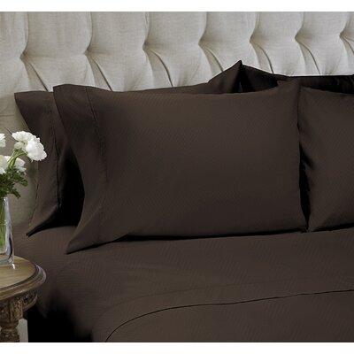 Chevron Embossed�4 Piece Sheet Set Color: Chocolate, Size: King