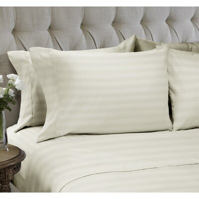 Dobby Stripe Embossed�4 Piece Sheet Set Color: Whisper, Size: Queen