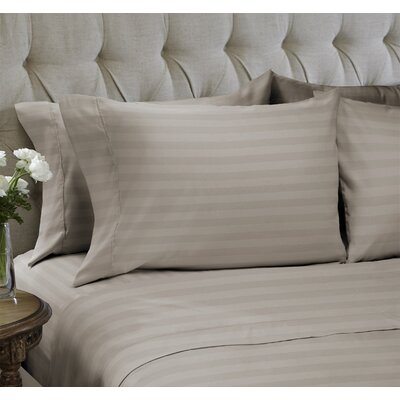 Dobby Stripe Embossed�4 Piece Sheet Set Color: Sand, Size: King