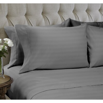 Dobby Stripe Embossed�4 Piece Sheet Set Color: Gray, Size: Queen