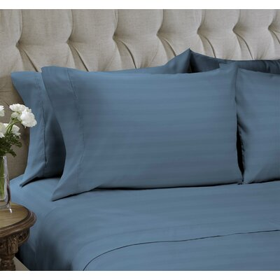 Dobby Stripe Embossed�4 Piece Sheet Set Color: Faded Denim, Size: Queen