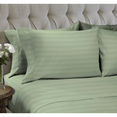 Dobby Stripe Embossed�4 Piece Sheet Set Color: Moss Green, Size: Queen