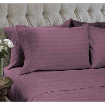 Dobby Stripe Embossed�4 Piece Sheet Set Color: Mauve, Size: Queen