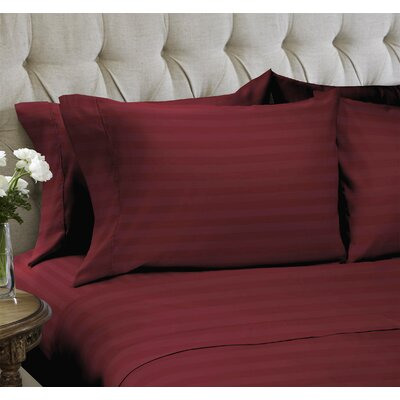 Dobby Stripe Embossed�4 Piece Sheet Set Color: Berry, Size: King