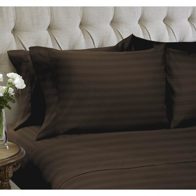 Dobby Stripe Embossed�4 Piece Sheet Set Color: Chocolate, Size: King