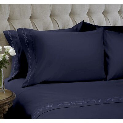 Duet Embroidered 4 Piece Sheet Set Color: Navy, Size: Queen