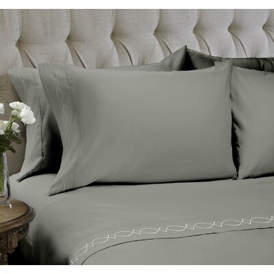 Duet Embroidered 4 Piece Sheet Set Color: Stone, Size: Queen