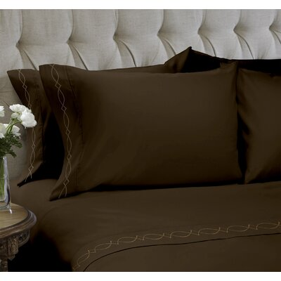 Duet Embroidered 4 Piece Sheet Set Color: Java, Size: Queen