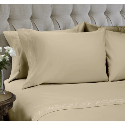 Duet Embroidered 4 Piece Sheet Set Color: Sand, Size: Queen