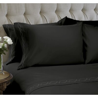 Duet Embroidered 4 Piece Sheet Set Color: Black, Size: Twin
