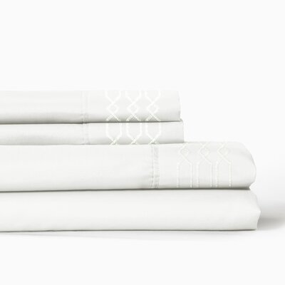 Linx Embroidered 4 Piece Sheet Set Color: Bright White, Size: Queen