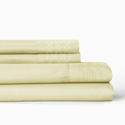 Linx Embroidered 4 Piece Sheet Set Color: Chamomile, Size: King