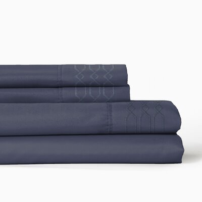 Linx Embroidered 4 Piece Sheet Set Color: Vintage Indigo, Size: Twin