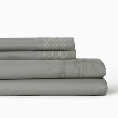 Linx Embroidered 4 Piece Sheet Set Color: Gray, Size: Twin