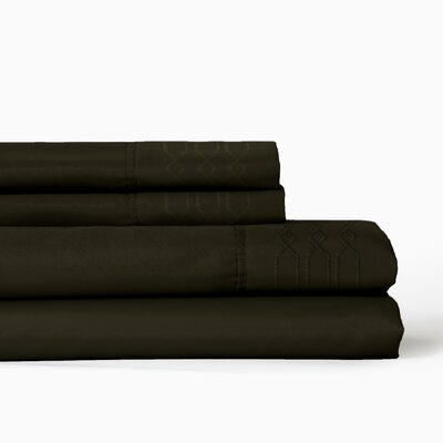 Linx Embroidered 4 Piece Sheet Set Color: Java, Size: King