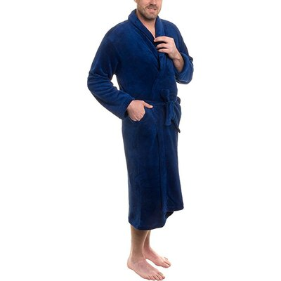 Super Plush Ultra Lux Bathrobe Color: Navy