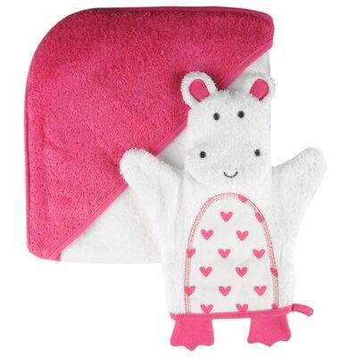 Heart Single Hooded Towel and Character Washmitt Set