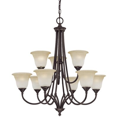 Harmony 9-Light Shaded Chandelier Finish: Aged Bronze