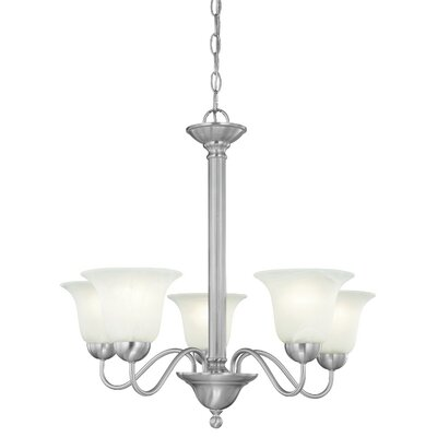 Riva 5-Light Shaded Chandelier Finish: Brushed Nickel