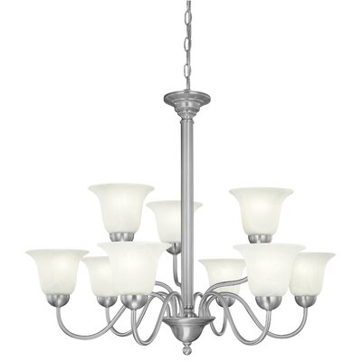 Riva 9-Light Shaded Chandelier Finish: Brushed Nickel